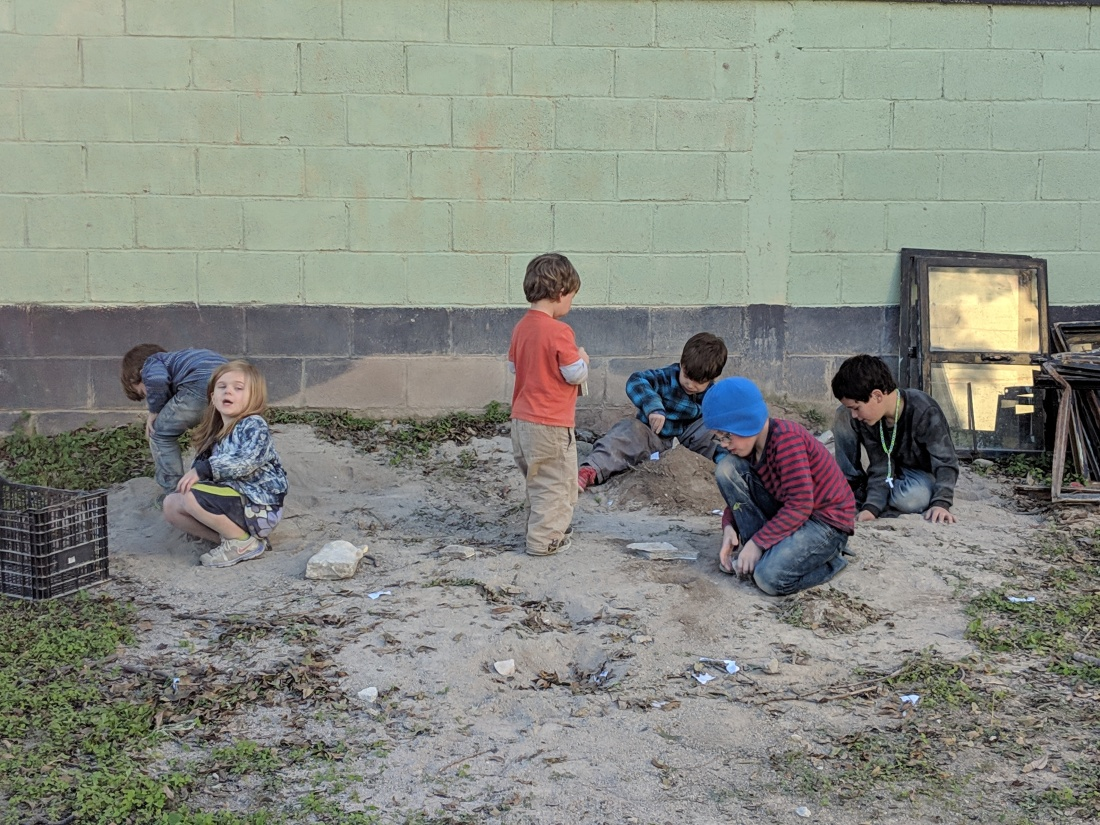 Again, kids will always find a way to play. They literally played in this dirt for hours every day.